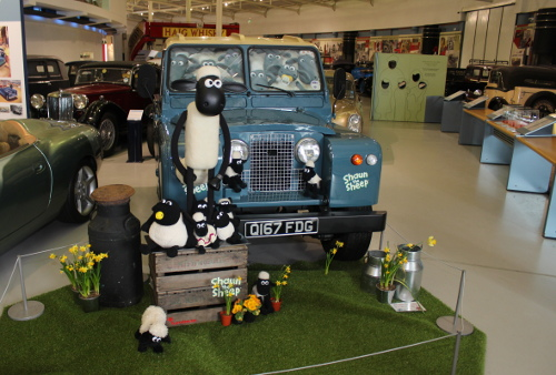 Shaun the sheep car landrover at heritage motor museum Gaydon