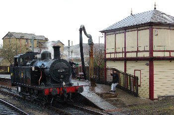 Steam Engine Refilling at Keighley Railway Station