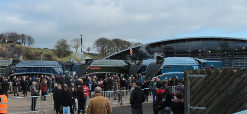 Great goodbye Class A4s including Mallard at Shildon Railway Museum