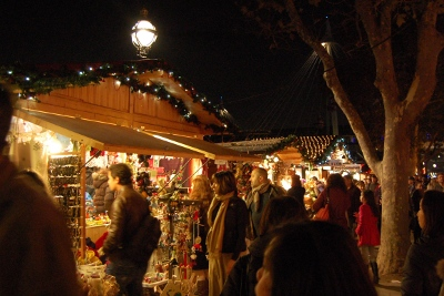 Christmas market stall at London Southbank Christmas Market