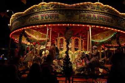 Traditional English carousel ride at London Southbank Centre Christmas Market