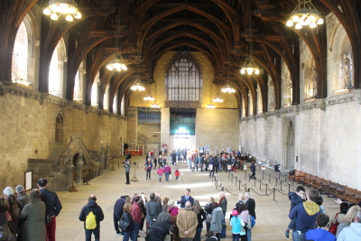 Main hall in Westminster, houses of parliament in London