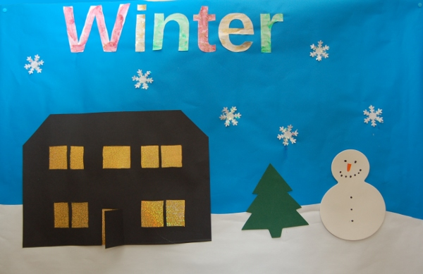 Winter craft picture 2010 - silhouette house, snowman, Christmas tree