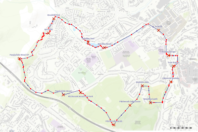 Map of the Batchley and Enfield Woodland Walk Redditch