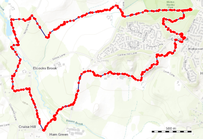 Map of the Morton Stanley Park to Elcock's Brook and Ham Green, Walk in Redditch